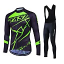 cheap Cycling Jersey & Shorts / Pants Sets-Fastcute Men's / Women's Long Sleeve Cycling Jersey with Bib Tights - Black Plus Size Bike Clothing Suit, Breathable, 3D Pad, Thermal / Warm, Quick Dry, Fleece Lining, Winter, Polyester, Fleece