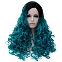 billige Mote Halskjede-Syntetiske parykker Syntetisk hår Blå Parykk Dame Medium Lengde Lokkløs Blå