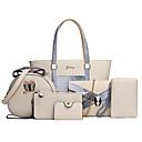 preiswerte Taschensets-Damen Taschen PU Umhängetasche 6 Stück Geldbörse Set Beige / Grau / Fuchsia