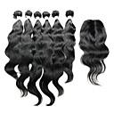 billige En pakke med hår-Indisk hår Naturlige bølger Ekte hår Hår Veft Med Lukker Hårvever med menneskehår Hot Salg Hairextensions med menneskehår