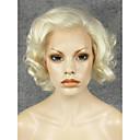 billige Lokkløs-Syntetisk blonder foran parykker Krøllet Blond Syntetisk hår Naturlig hårlinje / Side del Blond Parykk Dame Kort Blonde Forside Blond