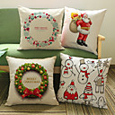 cheap Christmas Decorations-1 pcs Cotton / Linen Pillow Case, Holiday Accent / Decorative