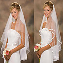 baratos Ligas para Noivas-Duas Camadas Clássico / Casamento Véus de Noiva Véu Ponta dos Dedos / Acessórios Casamento com Tule Linha A