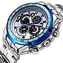 levne Chytré hodinky-WWOOR Pánské Sportovní hodinky Náramkové hodinky Křemenný Nerez Stříbro 30 m Voděodolné Svítící Cool Analogové Luxus Vintage Na běžné nošení Módní - Černá Bílá / Stříbrná Stříbrná / Modrá Dva roky