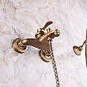 abordables Adhesivos de Pared-Grifo de ducha - Clásico / Arte Decorativa / Retro / Modern Cobre Envejecido Colocado en la Pared Válvula Cerámica / Latón