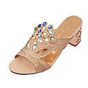 baratos Peruca para Fantasia-Mulheres Sapatos Gliter / Couro Ecológico Verão Chanel Sandálias Caminhada Salto Robusto / Salto de bloco Dedo Apontado / Dedo Aberto