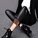 baratos Relógios da Moda-Mulheres Flanelada Legging - Sólido Cintura Média