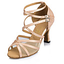 cheap Latin Shoes-Women's Latin Shoes / Modern Shoes / Salsa Shoes Leather Heel Customized Heel Customizable Dance Shoes Almond / Khaki / Indoor / Practice
