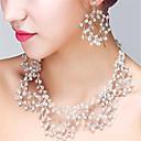 baratos Conjuntos de Bijuteria-Mulheres Cristal Conjunto de jóias - Incluir Transparente Para Casamento Festa