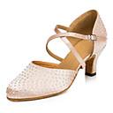 baratos Sapatos de Dança Moderna-Mulheres Sapatos de Dança Latina / Sapatilhas de Sapateado / Sapatos de Dança Moderna Couro / Cetim Salto Pedrarias / Lantejoulas Salto