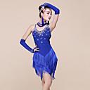 cheap Latin Dance Wear-Latin Dance Dresses Women's Performance Spandex / Milk Fiber Beading / Tassel Sleeveless Natural Dress