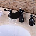 baratos Torneiras de Banheiro-Torneira de Banheira - Pré Enxaguada / Cascata / Separada Cobre Envelhecido Banheira e Chuveiro Duas alças de três furos