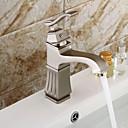 baratos Torneiras de Cozinha-torneira da pia do banheiro - cascata difundida níquel escovado centerset única alça de um buraco torneiras de banho