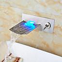 رخيصةأون حنفيات مغاسل الحمام-بالوعة الحمام الحنفية - شلال LED نيكل ناعم مثبت على الحائط ثقبان التعامل مع واحد اثنين من الثقوب