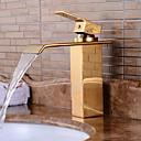 baratos Torneiras de Banheiro-Torneira pia do banheiro - Pré Enxaguada / Cascata / Separada Cromado Conjunto Central Monocomando e Uma AberturaBath Taps