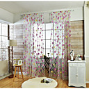halpa Harsoverhot-Läpinäkyvät verhot Shades Living Room Kukka Pellava / polyesteriseos Applique