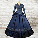 cheap Historical & Vintage Costumes-Rococo / Victorian Costume Women's Dress / Outfits Blue Vintage Cosplay Cotton Long Sleeve Long Length