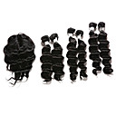cheap One Pack Hair-6 Bundles with Closure Indian Hair Deep Wave Human Hair Hair Weft with Closure 12-16 inch Human Hair Weaves Human Hair Extensions