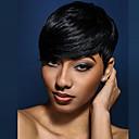 abordables Pelucas Naturales de Malla-Pelo humano pelucas sin tapa Cabello humano Ondulado Ondulado Natural Corte Pixie Con flequillo Para mujeres de color Peluca afroamericana