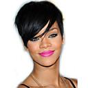 preiswerte Kappenlos-Menschliches Haar Capless Perücken Echthaar Glatt / Klassisch Bob Bubikopf / Kurze Frisuren 2019 / Mit Pony / Mit Strähnen Rihanna Natürlicher Haaransatz Natürlich Maschinell gefertigt Perücke Damen