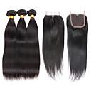 olcso Természetes színű póthajak-Brazil haj Egyenes Szűz haj Az emberi haj sző 3 csomópont bezárásával 8-28 hüvelyk Emberi haj sző 4x4 lezárása 7a Fekete Human Hair Extensions