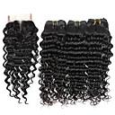 billige Syntetiske parykker uten hette-3 pakker med lukking Brasiliansk hår Dyp Bølge 10A Ubehandlet hår Menneskehår Vevet Hårvever med menneskehår Hairextensions med menneskehår