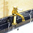 billige Herreklokker-art deco / retro utbredt keramisk ventil ett hulls enkelthåndtak ett hull ti-pvd, badevaske kranen badekar kraner