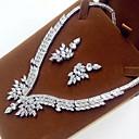 رخيصةأون مجموعات المجوهرات-للمرأة مجموعة مجوهرات - زركون, مكعبات زركونيا زفافي تتضمن فضي من أجل زفاف حزب