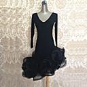 baratos Roupas de Dança Latina-Dança Latina Vestidos Mulheres Espetáculo Elastano / Organza Fru-Fru Manga Longa Alto Vestido