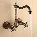 billige Baderomskraner-Baderom Sink Tappekran - Foss Antikk Kobber Centersat To Huller / To Håndtak to hull