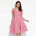 cheap Lolita Dresses-Women's Plus Size Party / Going out Vintage Cotton Swing Dress - Check Pleated Off Shoulder