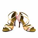 abordables Zapatos de Baile Latino-Mujer Latino Salsa Seda Satén Sandalia Tacones Alto Rendimiento Profesional Hebilla Corbata de Lazo Tacón Personalizado Azul Rosa Bronce