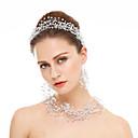 billiga Sexiga uniformer-Kristall Strass Bröllop Party Speciellt Tillfälle Kristall Bergkristall Hårsmycken 1 Halsband 1 Par Örhängen