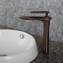 preiswerte Badarmaturen-Moderne Art déco/Retro Modern Mittellage Verbreitete Keramisches Ventil Ein Loch Einhand Ein Loch Öl-riebe Bronze , Waschbecken Wasserhahn