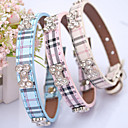 cheap Dog Collars, Harnesses & Leashes-Cat Dog Collar Adjustable / Retractable Hands free Plaid/Check PU Leather Beige Blue Pink
