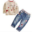 cheap Girls' Clothing Sets-Girls' Jeans Clothing Set Spring Fall Long Sleeves Cartoon Gray