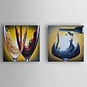 olcso Csendélet festmények-Kézzel festett Csendélet Vízszintes,Modern Két elem Vászon Hang festett olajfestmény For lakberendezési