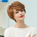 baratos Perucas de Cabelo Humano Sem Touca-Perucas de cabelo capless do cabelo humano Cabelo Humano Clássico / Ondulado Natural Fabrico à Máquina Peruca Diário