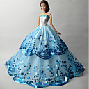 cheap Apparel For Barbie-Party/Evening Dresses For Barbie Doll Organza Sequin Dress For Girl's Doll Toy