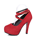 preiswerte Damen Heels-Damen Schuhe PU Frühling / Sommer Komfort High Heels Stöckelabsatz Runde Zehe Schwarz / Rot / Blau / Kleid