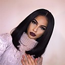 cheap Human Hair Wigs-Human Hair Glueless Lace Front Lace Front Wig Bob style Brazilian Hair Straight 360 Frontal Wig 180% Density with Baby Hair Natural Hairline African American Wig 100% Hand Tied Women's Medium Length