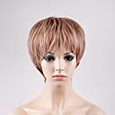 halpa Synteettiset peruukit ilmanmyssyä-Synteettiset peruukit Suora Bob-leikkaus Synteettiset hiukset Vaaleahiuksisuus Peruukki Naisten Lyhyt Suojuksettomat