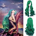 preiswerte Synthetische Perücken mit Spitze-Synthetische Perücken Große Wellen Stil Kappenlos Perücke Grün Grün Synthetische Haare Damen Grün Perücke Cosplay Perücke