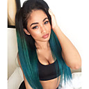 cheap Synthetic Lace Wigs-ombre turquoise green teal silk straight synthetic lace front wig natural black green heat resistant hair wigs new