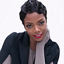 billige Syntetiske parykker uten hette-Syntetiske parykker Dame Bølget Svart Syntetisk hår Afroamerikansk parykk Svart Parykk Kort Lokkløs Jet Svart
