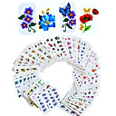 cheap Nail Stamping-1set 55pcs mixed nail art sticker water transfer decals beautiful flower design diy nail art beauty bjc55