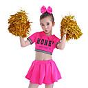 baratos Roupas Infantis de Dança-Fantasias para Cheerleader Roupa Espetáculo Algodão Recortes Manga Curta Alto Blusa / Saia