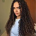 baratos Pedais para Carros-Cabelo Remy Frente de Malha Peruca Kinky Curly Peruca 150% / 180% Riscas Naturais / Peruca Afro Americanas / 100% Feita a Mão Mulheres Médio / Longo Perucas de Cabelo Natural / Crespo Cacheado