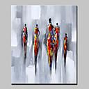 זול ציורי שמן-ציור שמן צבוע-Hang מצויר ביד - מופשט / אנשים מודרני / סגנון ארופאי כלול מסגרת פנימית / בד מתוח