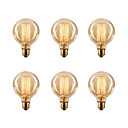 baratos Arte do prego do Natal-Ecolight™ 6pcs 40W E26 / E27 G80 2300k Incandescente Vintage Edison Light Bulb 220-240V